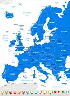 Fototapeta Evropa - mapa a navigace icons.Highly podrobné vektorové illustration.Image obsahuje další vrstvy: Land kontury, názvy zemí a pozemky, názvy měst, názvy voda objektů, navigační ikony.