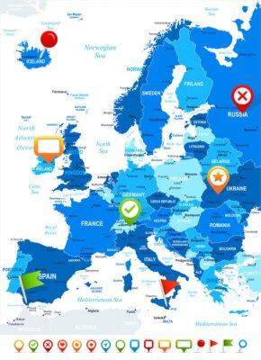 Fototapeta Evropa - mapa a navigační ikony - illustration.Image obsahuje další vrstvy: Land kontury, názvy zemí a pozemky, názvy měst, názvy voda objektů, navigační ikony.