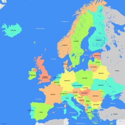 Fototapeta Evropa podrobná mapa