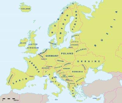 Fototapeta Evropa politická mapa 2015 se štítky a měřítka mapy. Nové hranice Ukrajiny a Ruska na Krymský poloostrov. Všechny údaje jsou ve vrstvách pro snadnou editaci vektorové mapy.
