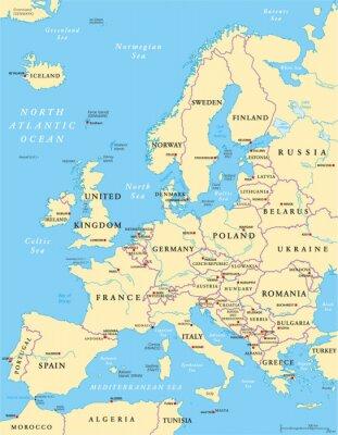 Fototapeta Evropa politická mapa