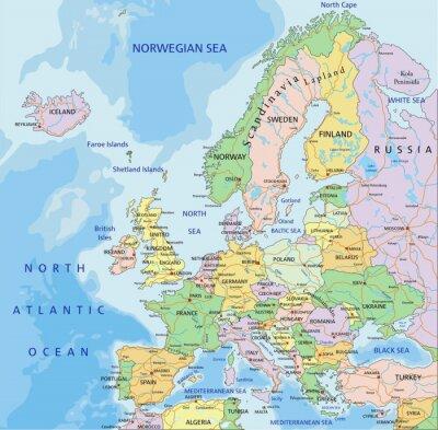 Fototapeta Evropa - velmi podrobné upravitelné politická mapa.