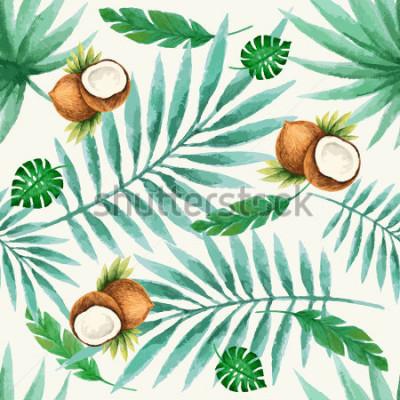Fototapeta Exotické ovoce bezešvé vzor, akvarel, vektorové ilustrace.