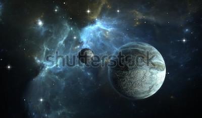 Fototapeta Extrasolar planeta. Kamenná planeta s měsícem na pozadí mlhoviny. 3D obrázek