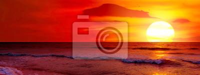 Fototapeta Fantastic sunset over ocean