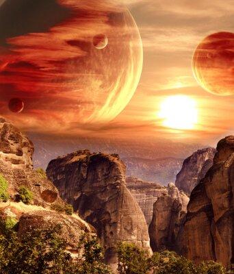 Fototapeta Fantastická krajina s planetou, hory, západ slunce