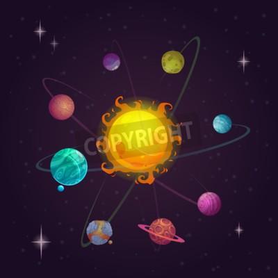 Fototapeta Fantasy solární systém, cizí planety a hvězdy, vektorový prostor ilustrační
