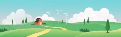 Fototapeta Farm summer wide panorama landscape vector illustration. Cartoon farmland countryside background scene with farmer house through green grass field, meadow hills