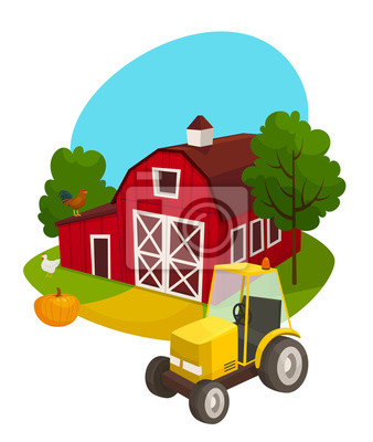 Farma Venkovni Koncept S Traktoru Stavebniny Dyne Kureci Maso
