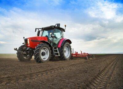 Fototapeta Farmář v traktoru připravuje zemi na setí