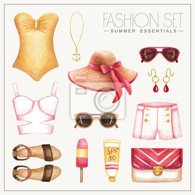 0578dd65e1c Fashion akvarel ženské oblečení s šortky a plavky fototapeta ...