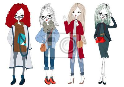 Fototapeta Fashion Girl Collection se čtyřmi krásné stylové dívky nosí  trendy oblečení. Izolované módní Model 059cf67b24