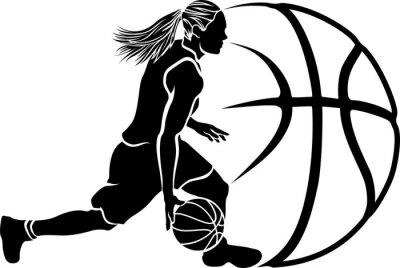 Fototapeta Female Basketball Dribble Sihouette with Ball