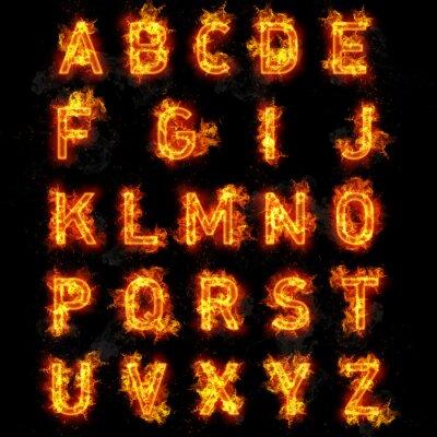 Fototapeta Fire font text all letters of alphabet on black background