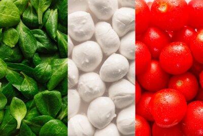 Fototapeta Flag of Italy made of basel leaves, mozzarella cheese, and cherr