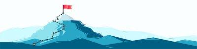 Fototapeta Flag on the mountain peak. Business concept of goal achievement or success. Flat style illustration