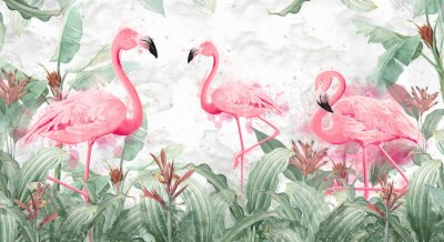 Fototapeta flamingos in tropical streams with textured background, photo wallpaper