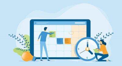 Fototapeta Flat vector illustration design Business planning concept and Business people team working with digital online calendar