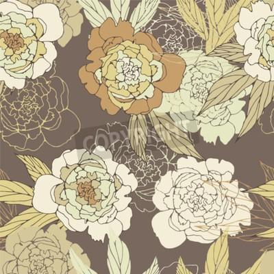 Fototapeta Floral seamless pattern with peony.