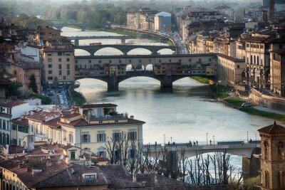 Fototapeta Florence Ponte Vecchio při západu slunce pohled
