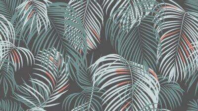 Fototapeta Foliage seamless pattern, simple palm leaves on dark grey