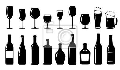 Fototapeta food set of alcohol bottles and glasses