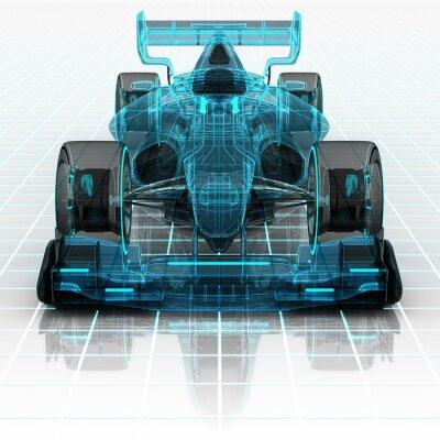 Fototapeta Formula auto technologie wireframe skica frontview