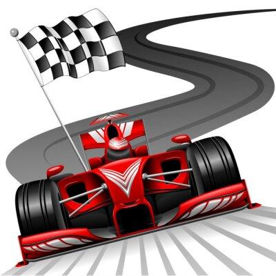 Fototapeta Formule 1 červené auto na Race Track