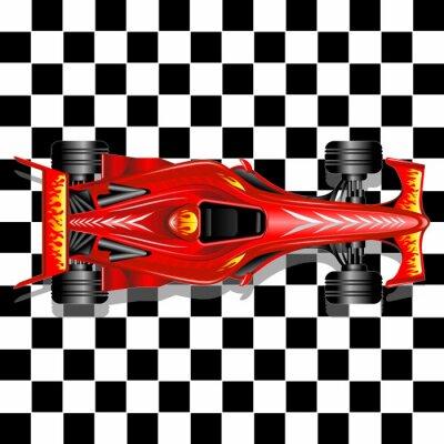 Fototapeta Formule 1 Red Race Car na Kostkovaný pozadí