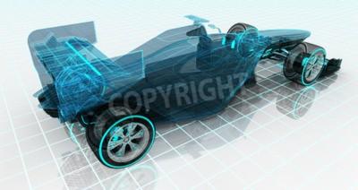 Fototapeta formule technologie wireframe skica horní zadní pohled motorsport produkt pozadí design své vlastní