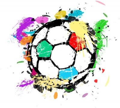 Fototapeta Fotbal nebo fotbal vektorové ilustrace, vícebarevné nátěrové barvy splas