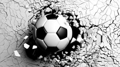 Fototapeta Fotbalový míč se násilím prolomil bílou stěnou. 3d ilustrace.
