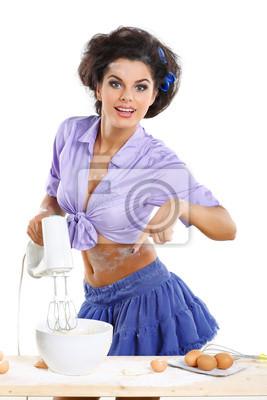 Fototapeta Fotografie krásná brunetka na kuchyni ve stylu pinap