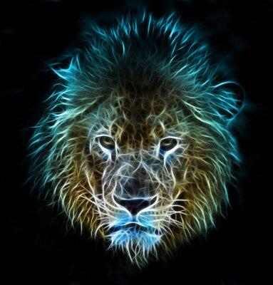 Fototapeta Fractal digitálním fantasy umění lva na izolované pozadí