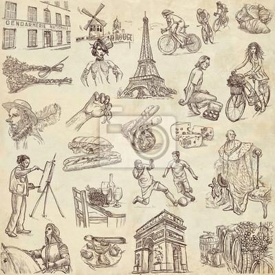 Francie Cestovani Kolekce Plne Velikosti Rucni Kresby Fototapeta