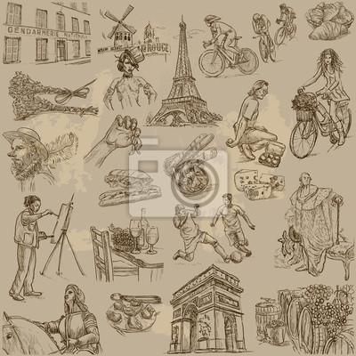 Francie Cestovani Sbirku Rucni Kresby Do Vektoru Fototapeta