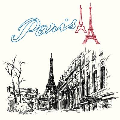 Fototapeta Francie, Paříž - Eiffelova věž - ručně kreslenou set