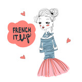 Francouzsky it up módní ilustrace s roztomilý francouzský dívka na sobě  modré longsleeved tričko a růžové 8537cef589