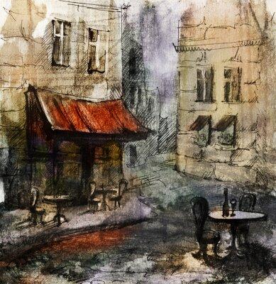 Fototapeta Francouzský venkovní evropský kavárna malba, grafika kresba v barvě