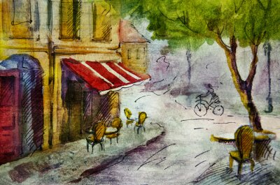 Fototapeta Francouzský venkovní kavárna evropský malba, grafika kresba v barvě