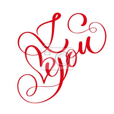 Fraze Miluji Te Na Valentyna Den Izolovane Rucne Kresleny Typografie