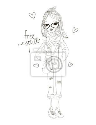 Fototapeta Free Spirit módní Ilustrace s módní dívka bf412ca244