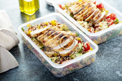 Fototapeta Fresh quinoa tabbouleh salad with grilled chicken and chickpeas, healthy meal prep