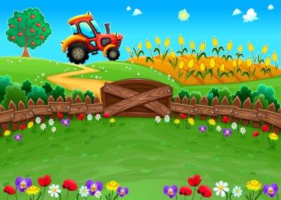Fototapeta Funny krajina s traktorem a kukuřičném poli.