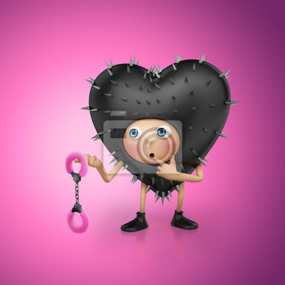 Fototapeta funny Valentine srdce karikatura drží pouta