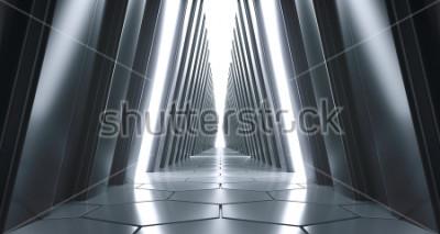 Fototapeta Futuristické realistické velký Sci-FI koridor s bílými světly a odrazy. 3D vykreslování