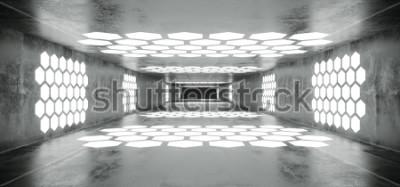 Fototapeta Futuristické Sci Fi kosmická loď Grunge betonové prázdné tunel s bílým zářící šestiúhelník ve tvaru světla s černým tmavý konec 3d vykreslování obrázku  t