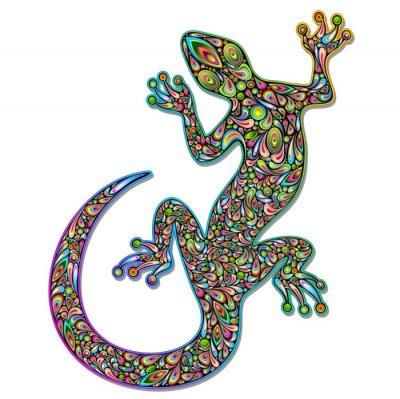 Fototapeta Gecko Lizard Geko Psychedelic Art design Geco psichedelico