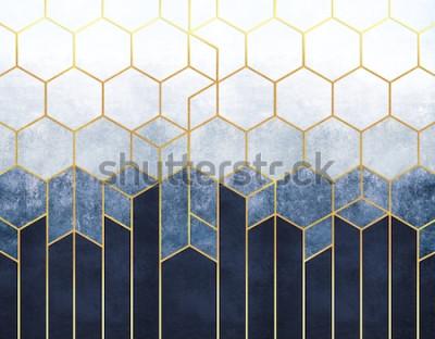 Fototapeta Geometrická abstrakce šestiúhelníků na modrém pozadí reliéfu se zlatými prvky. Fresco pro vnitřní tisk, tapety.