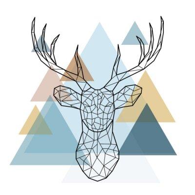 Fototapeta Geometrická hlava jelenu. Skandinávský styl